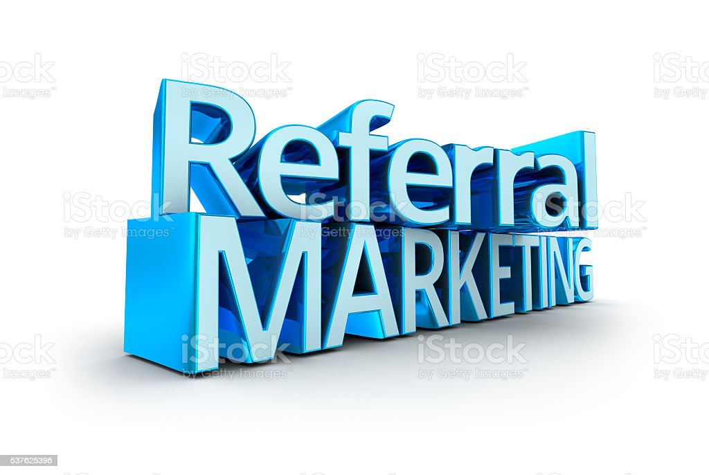Referral Marketing text, 3d Concept isolated on white stock photo