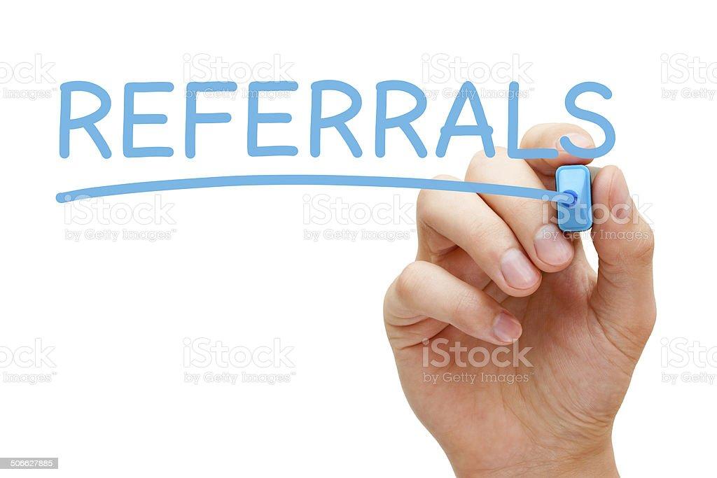 Referrals Blue Marker stock photo