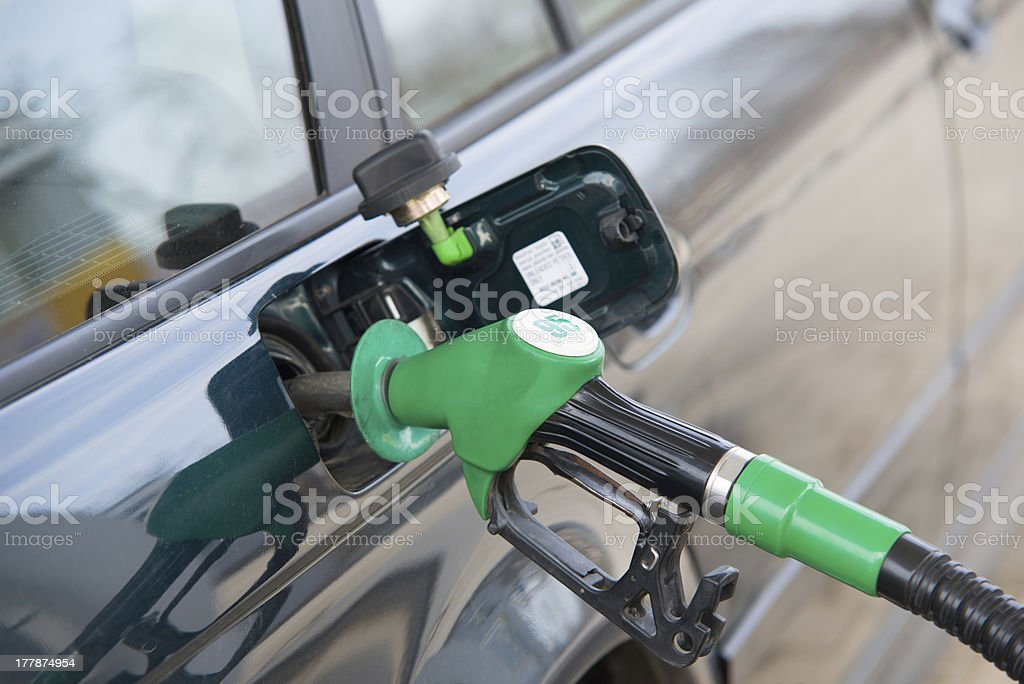 Refilling car fuel on the gas station stock photo