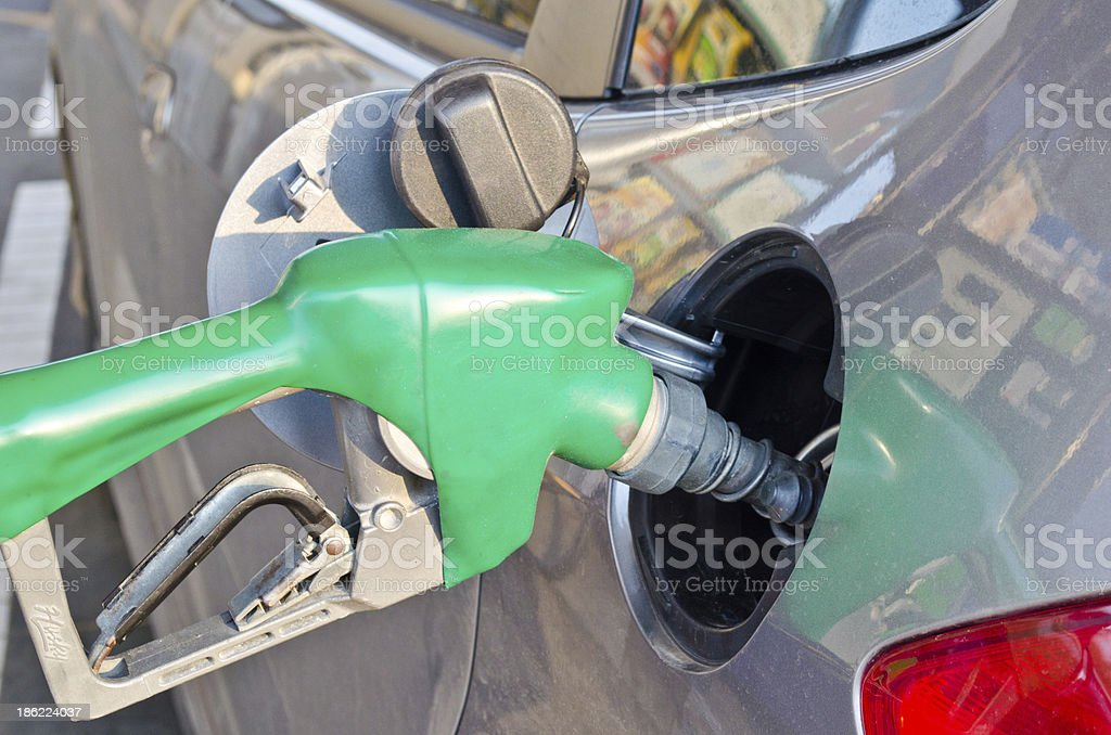 refilling the car with fuel on a filling station stock photo