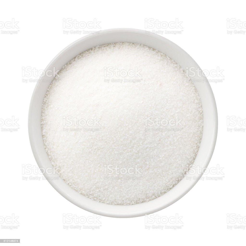 Refined Sugar in a Ceramic Bowl stock photo