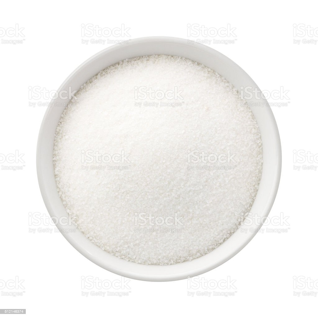 Refined Sugar in a Ceramic Bowl stock photo