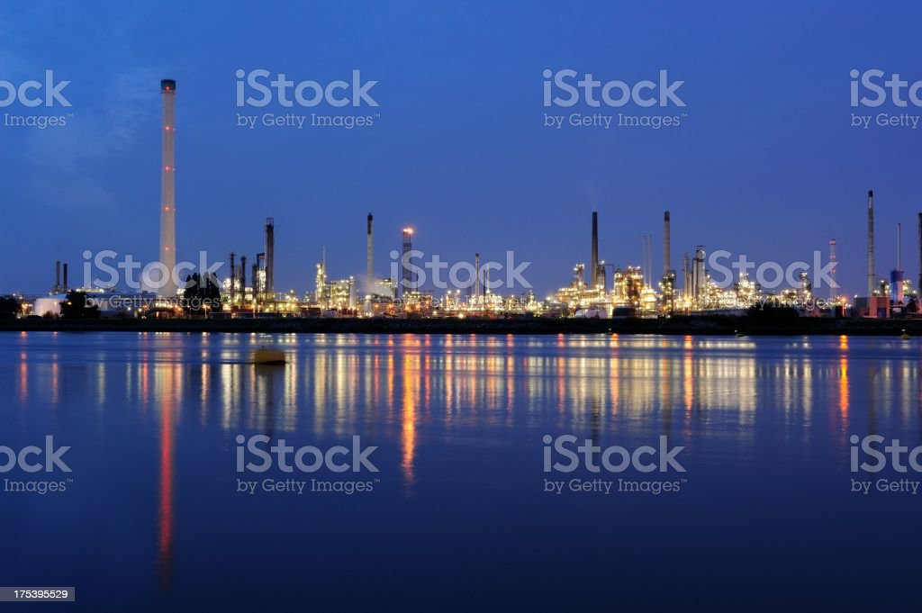 Refineries in the municipality of Rotterdam at dusk royalty-free stock photo