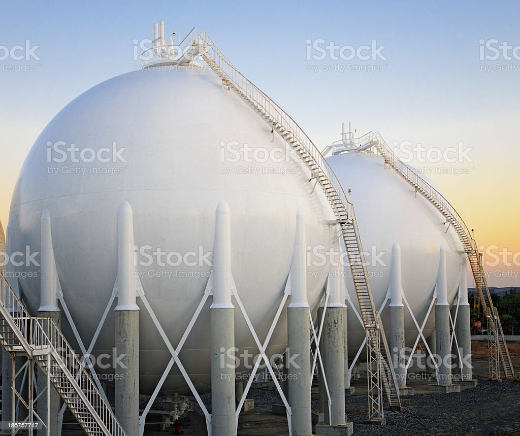 Refinery area storage tanks royalty-free stock photo