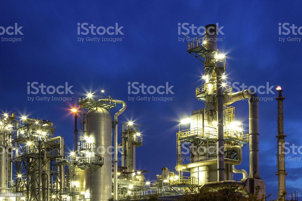 refinery at night stock photo
