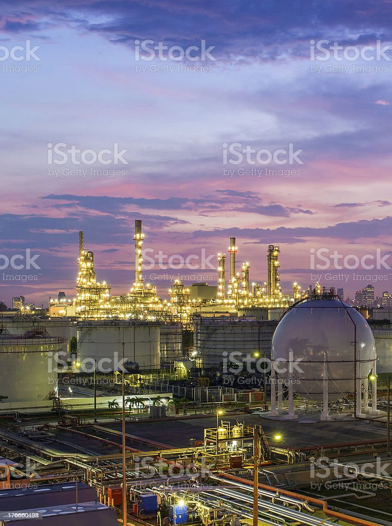Refinery at twilight royalty-free stock photo