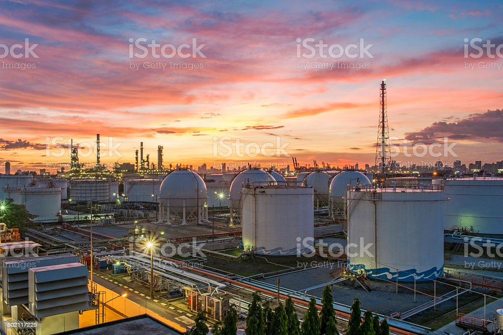 Refinery at twilight stock photo