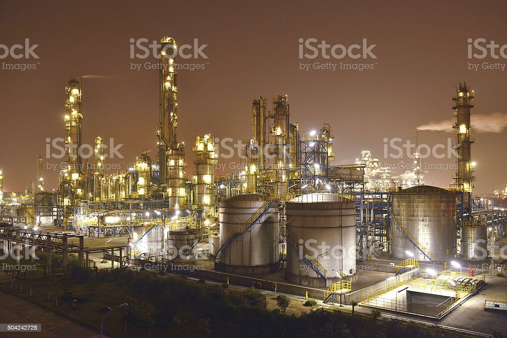 Refinery & chemical plant at night.