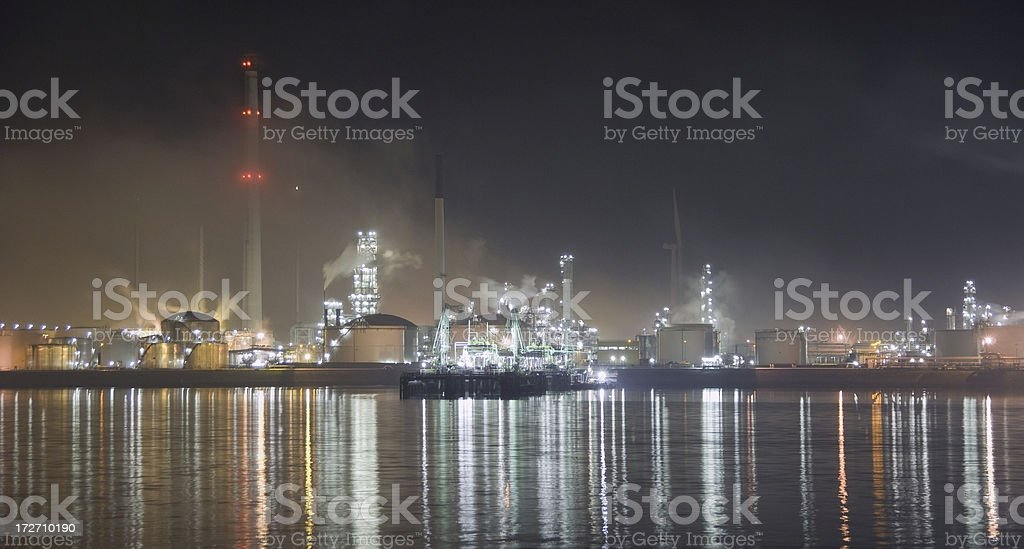 Refinery complex at night royalty-free stock photo