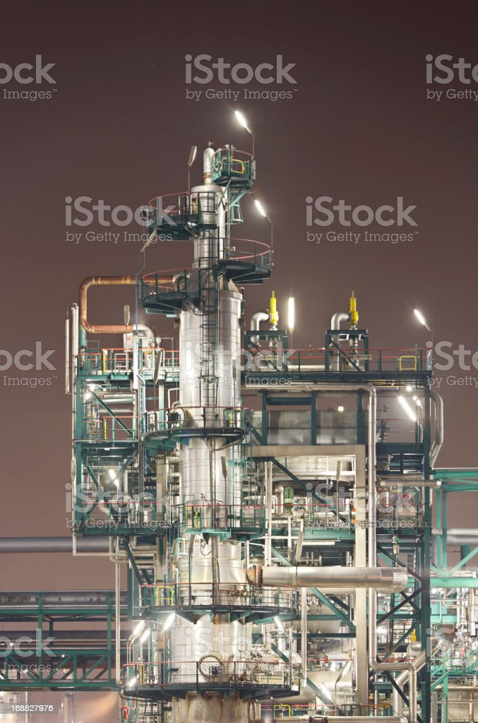 Refinery Detail At Night royalty-free stock photo