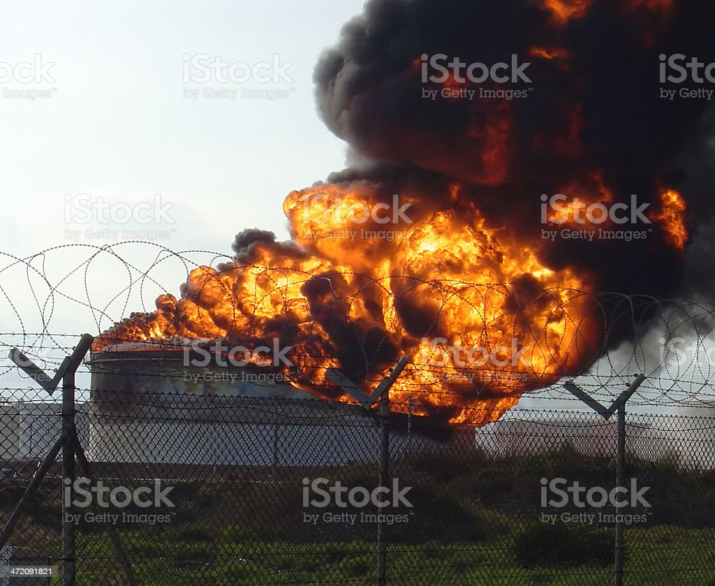 Refinery Explosion with Flames stock photo