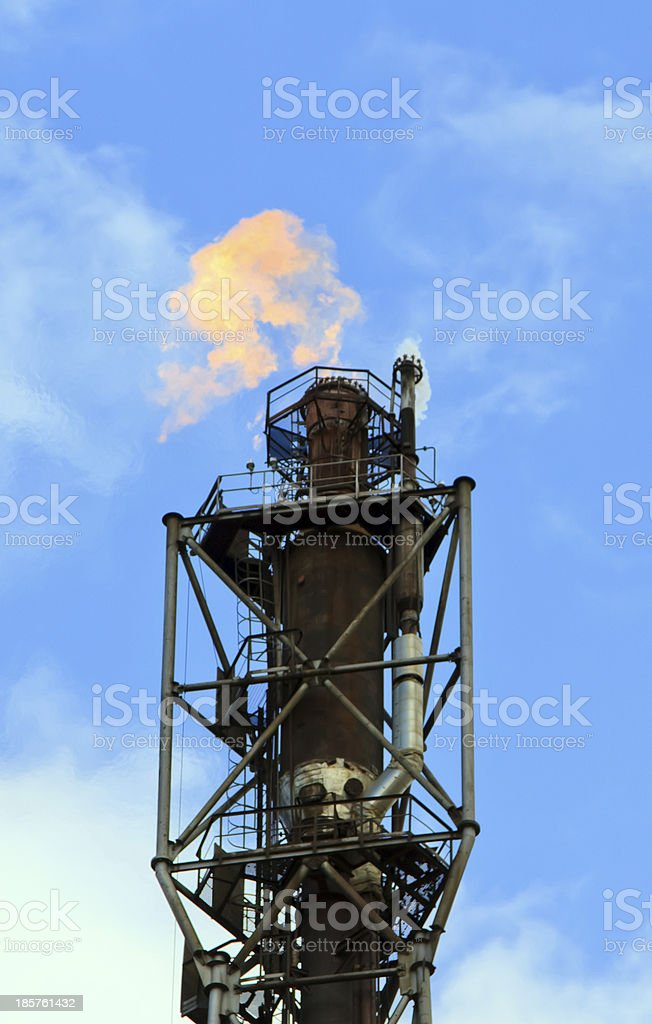 refinery fire gas torch royalty-free stock photo