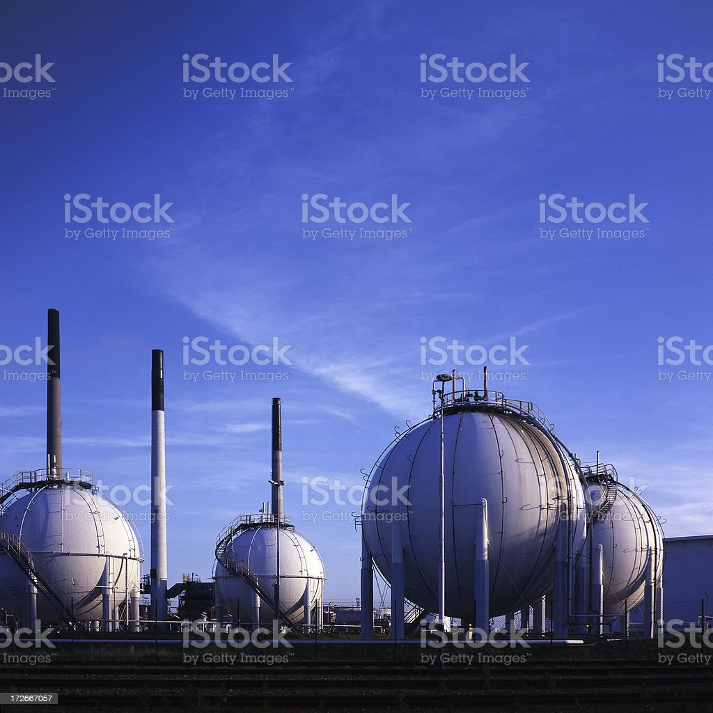Refinery in Pernis, Rotterdam stock photo