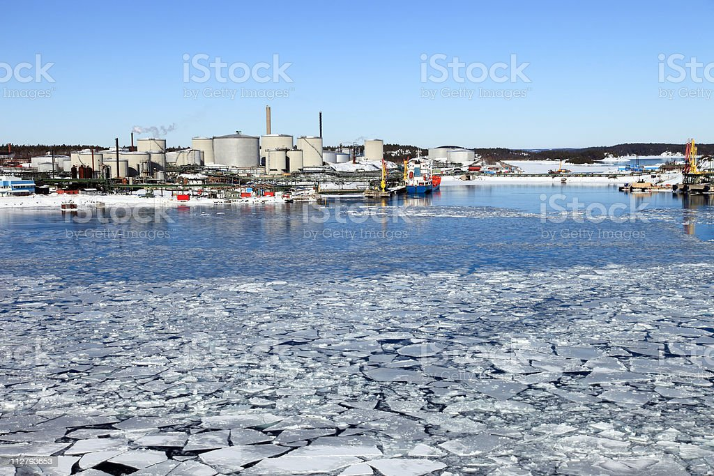 Refinery in winter scenery royalty-free stock photo