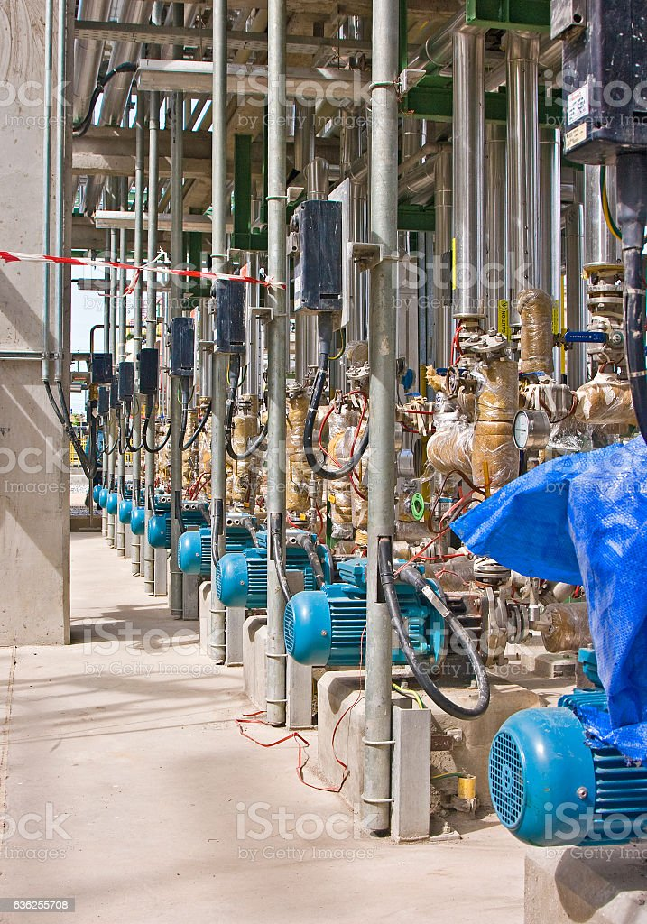 Refinery or Chemical Plant Pump Row stock photo