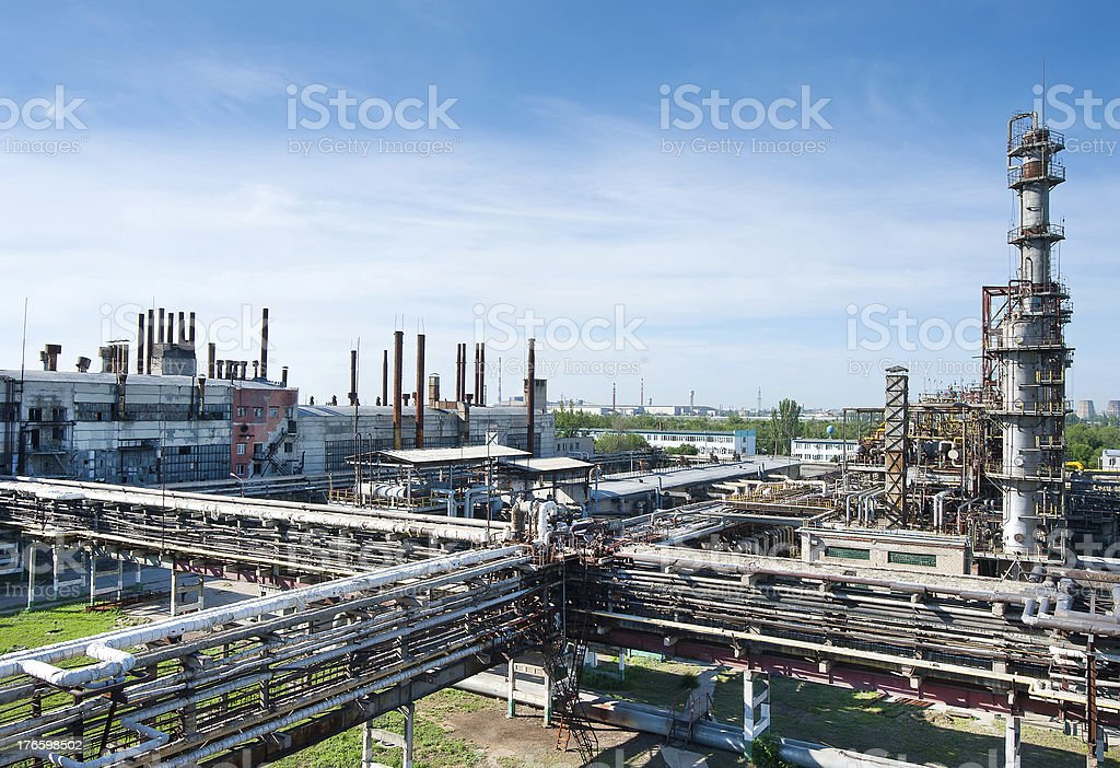 refinery photos in a sunny day stock photo