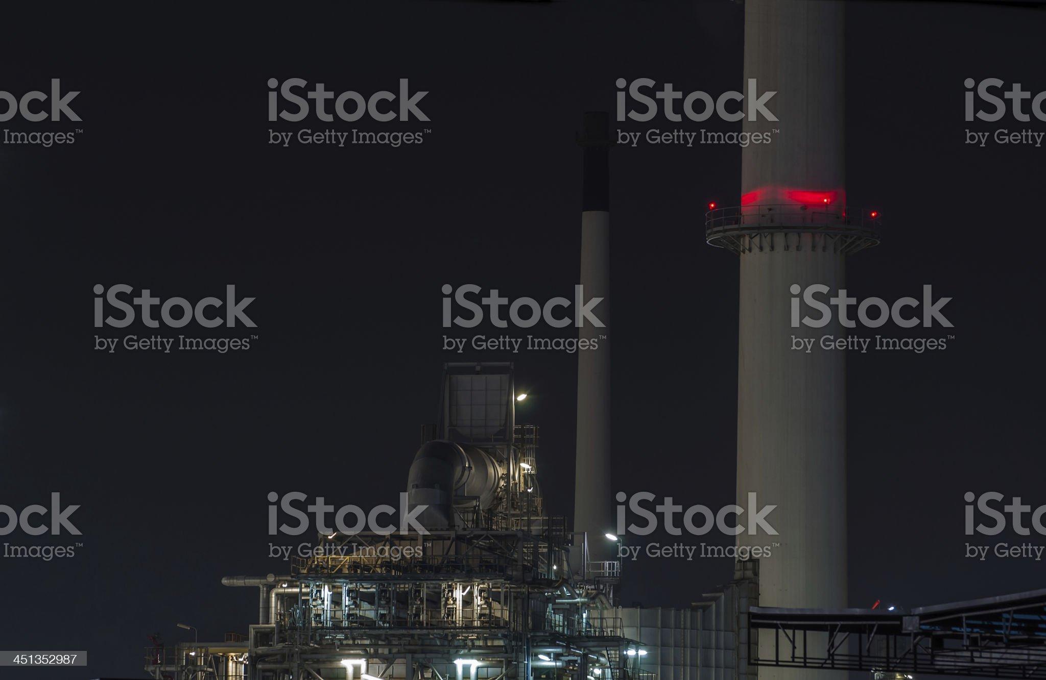 Refinery plant at dusk royalty-free stock photo
