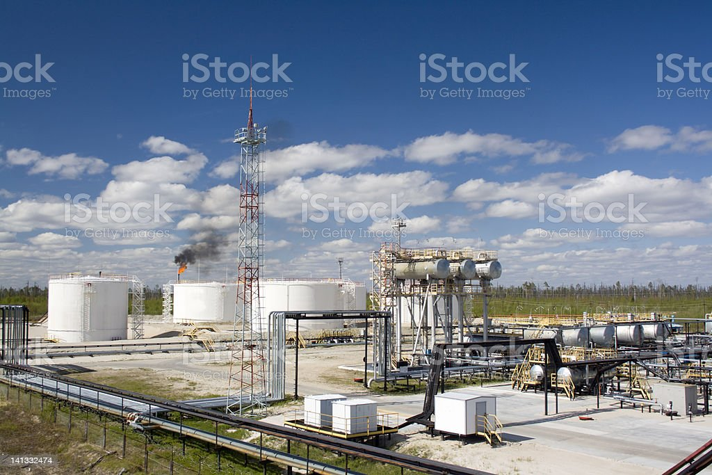A refinery plant in the daytime stock photo