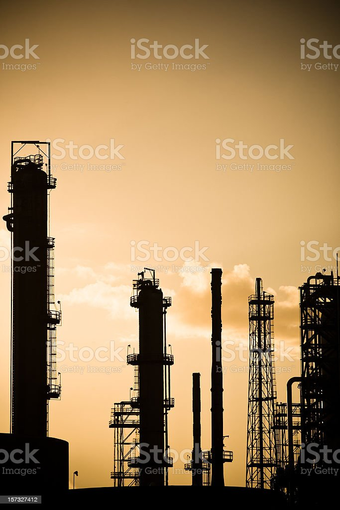 Refinery Silhouette royalty-free stock photo