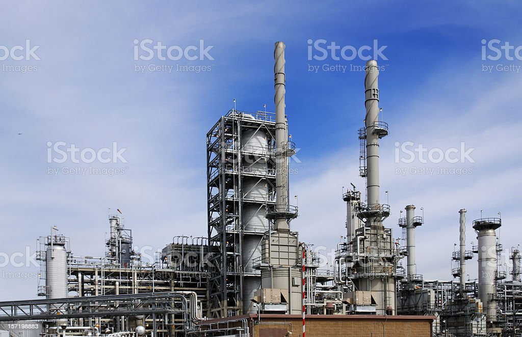Refinery with Blue Sky stock photo
