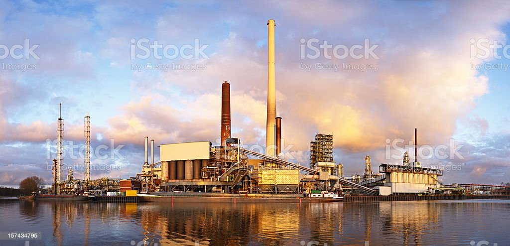 Refinery With Warm Evening Light royalty-free stock photo