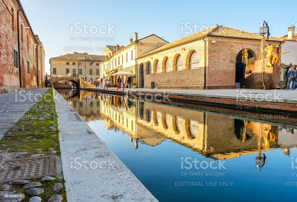 reflect building canal Comacchio Ferrara Emilia Romagna little venice italy stock photo