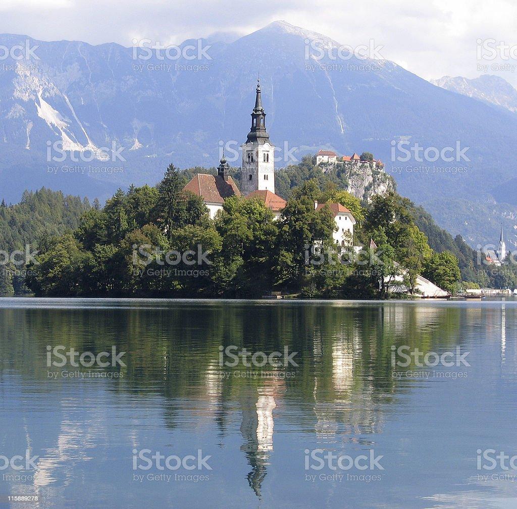 Reflected Church, Lake Bled stock photo