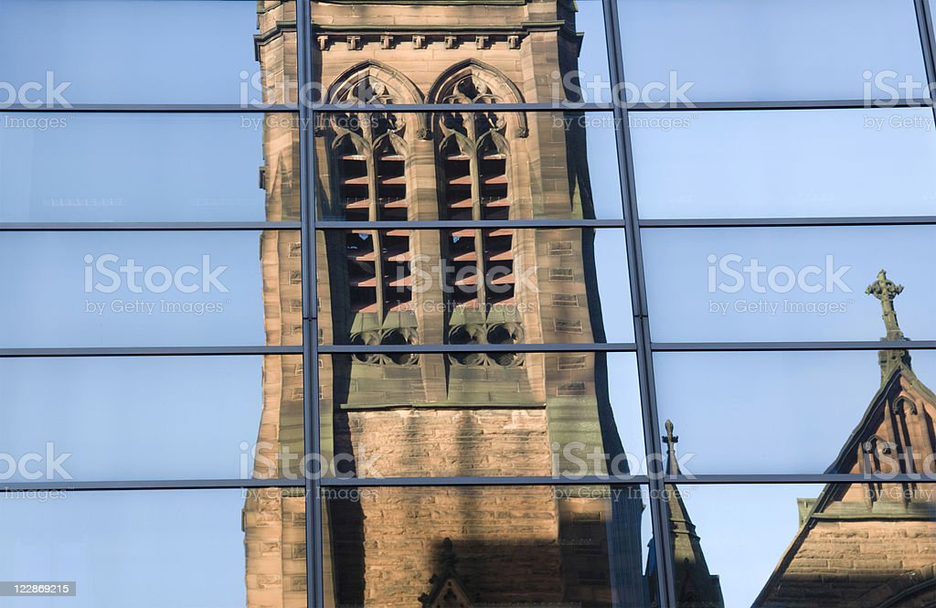 Reflected Church Tower royalty-free stock photo