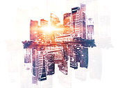 Reflected city on light background