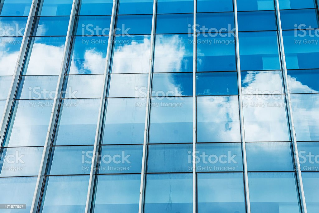 reflected clouds on modern office royalty-free stock photo