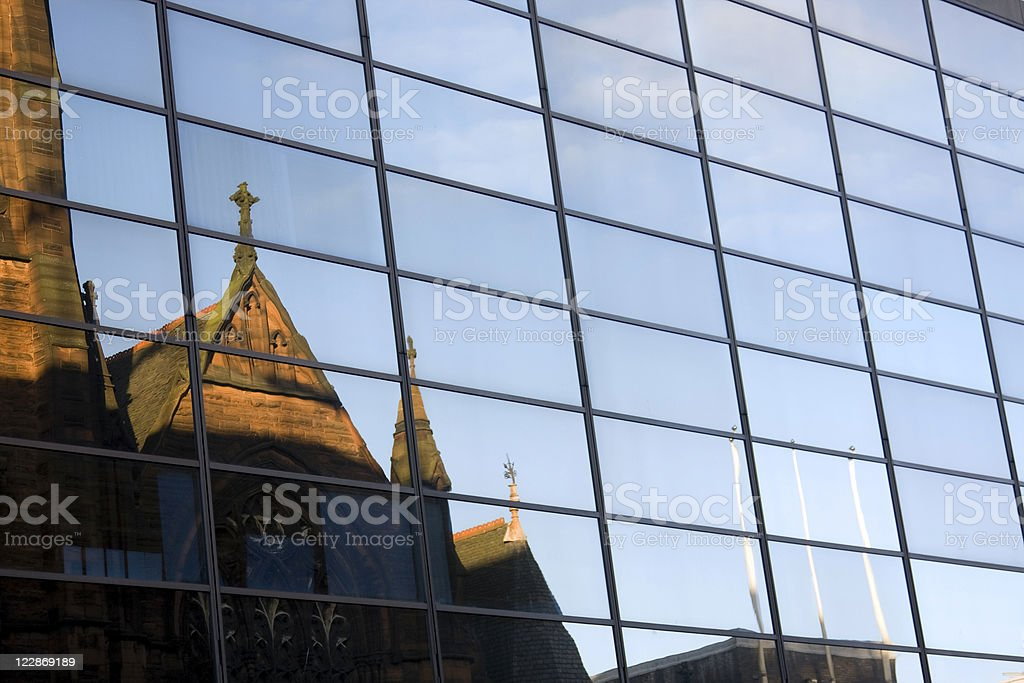 Reflected Gothic Church royalty-free stock photo