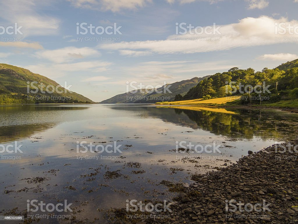 Reflected Light on Loch Striven stock photo