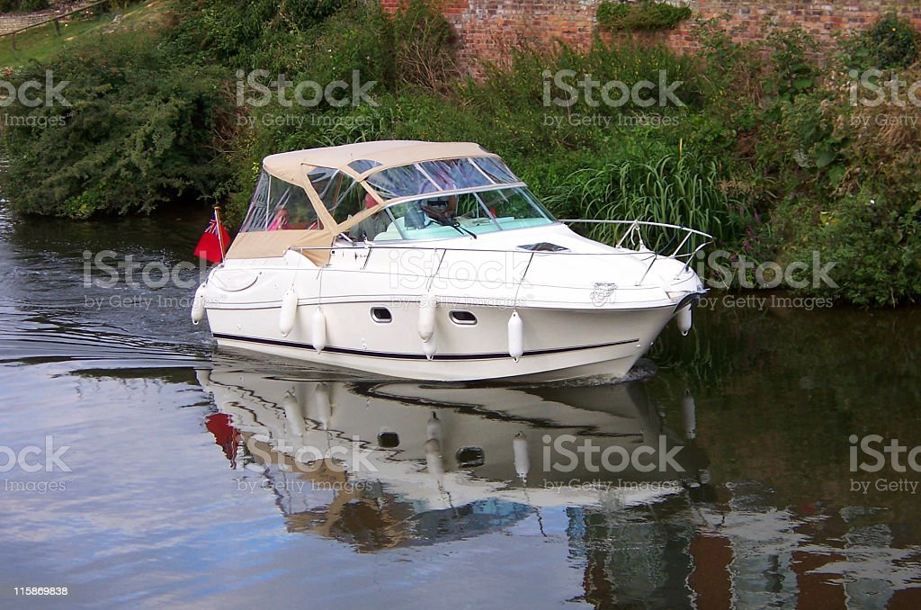 Reflected river cruiser royalty-free stock photo