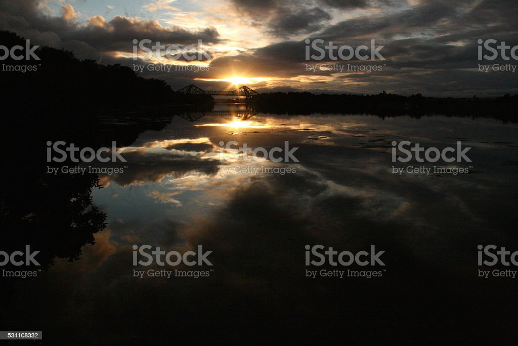 Reflected Sunset Sky over Connel Bridge stock photo