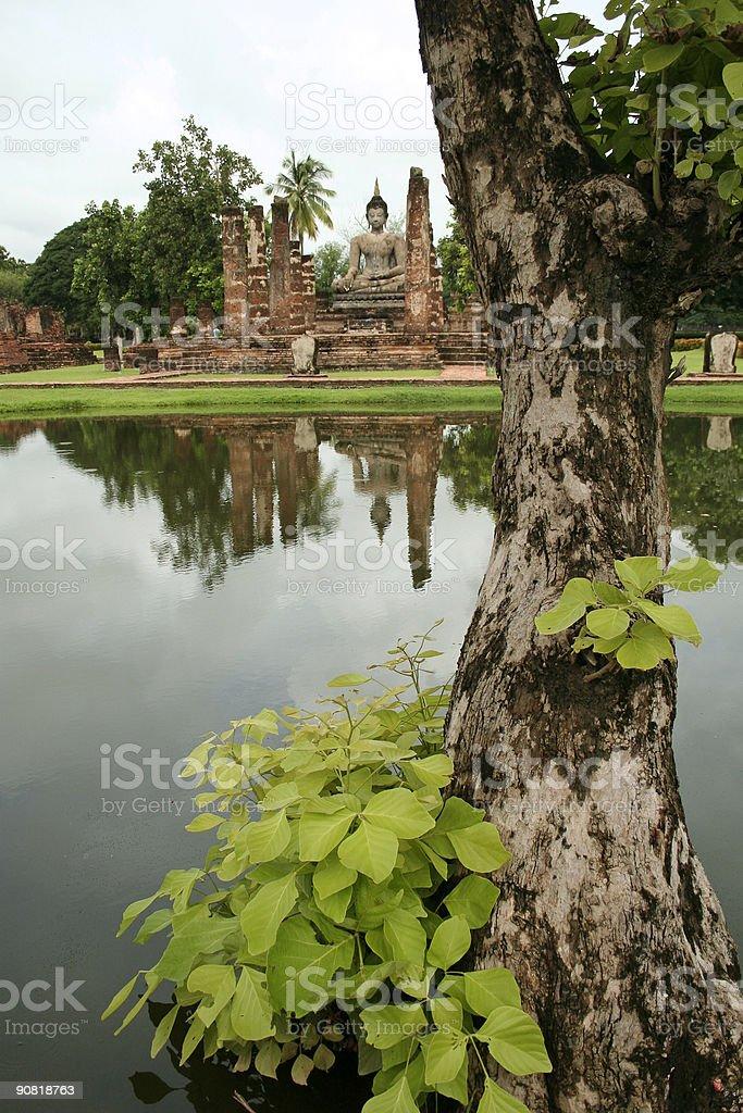 reflected temple buddha sukhothai thailand royalty-free stock photo
