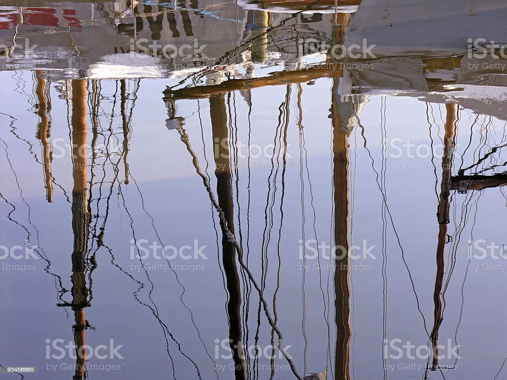 Reflecting Masts royalty-free stock photo