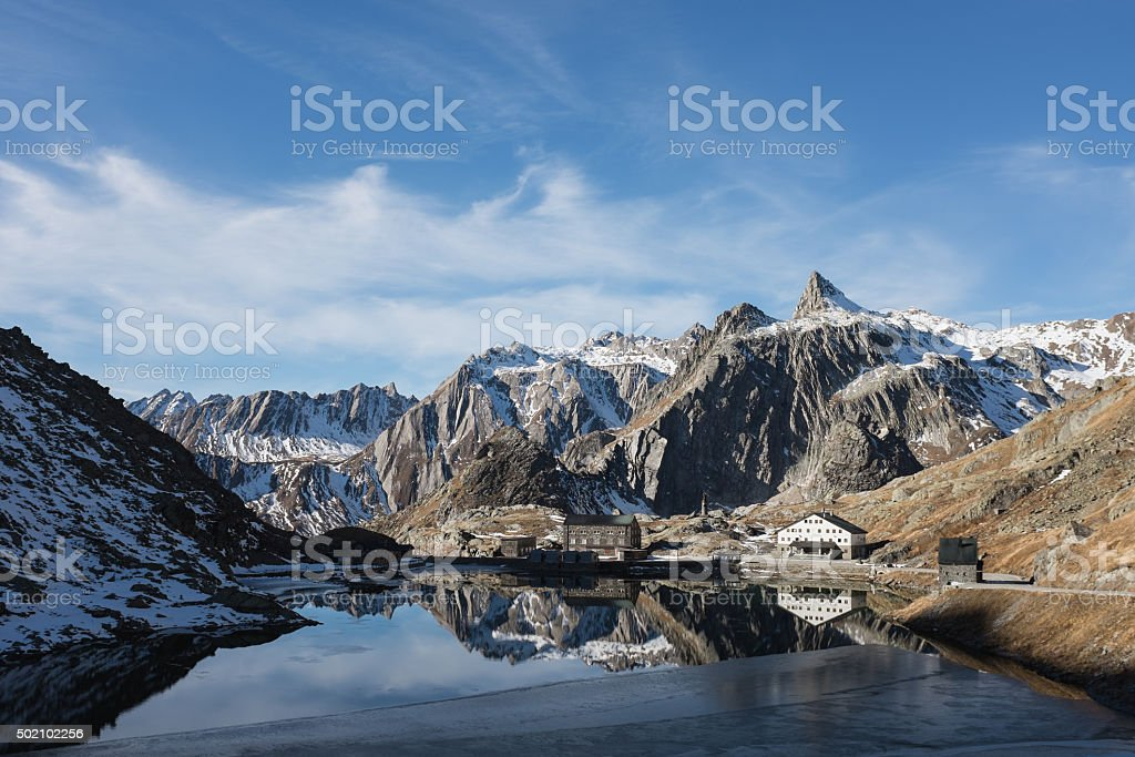 Reflecting on the Saint Bernard Pass stock photo