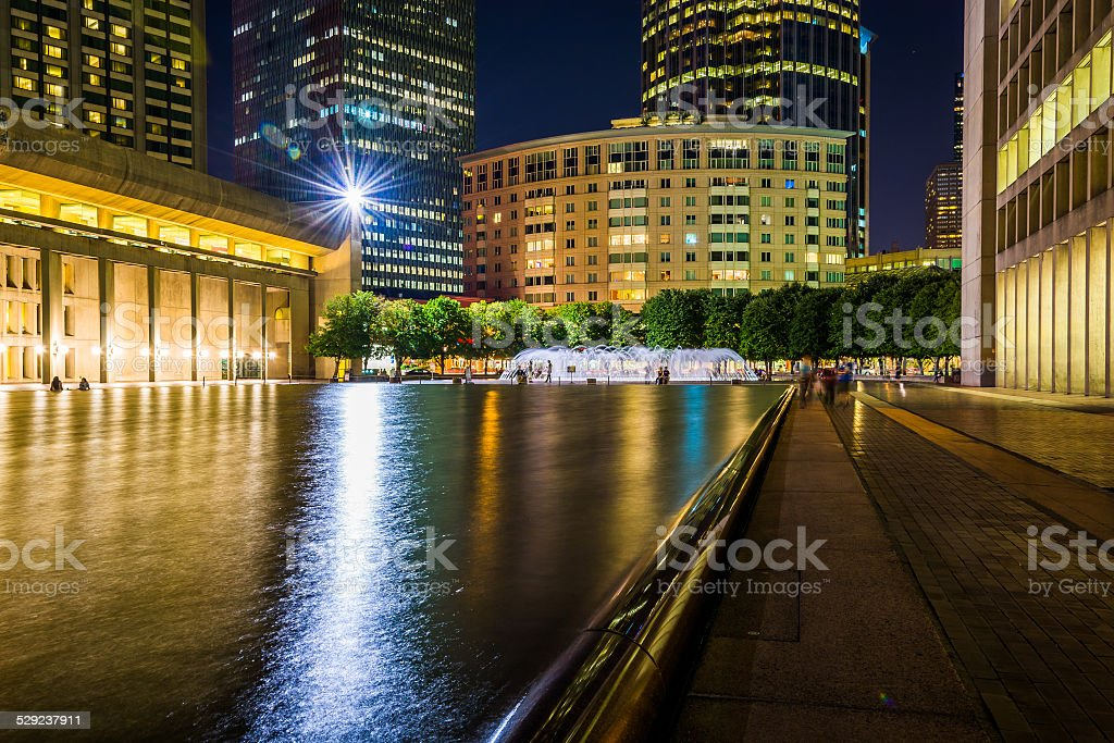 Reflecting pool and skyscrapers at night, seen at Christian Scie stock photo