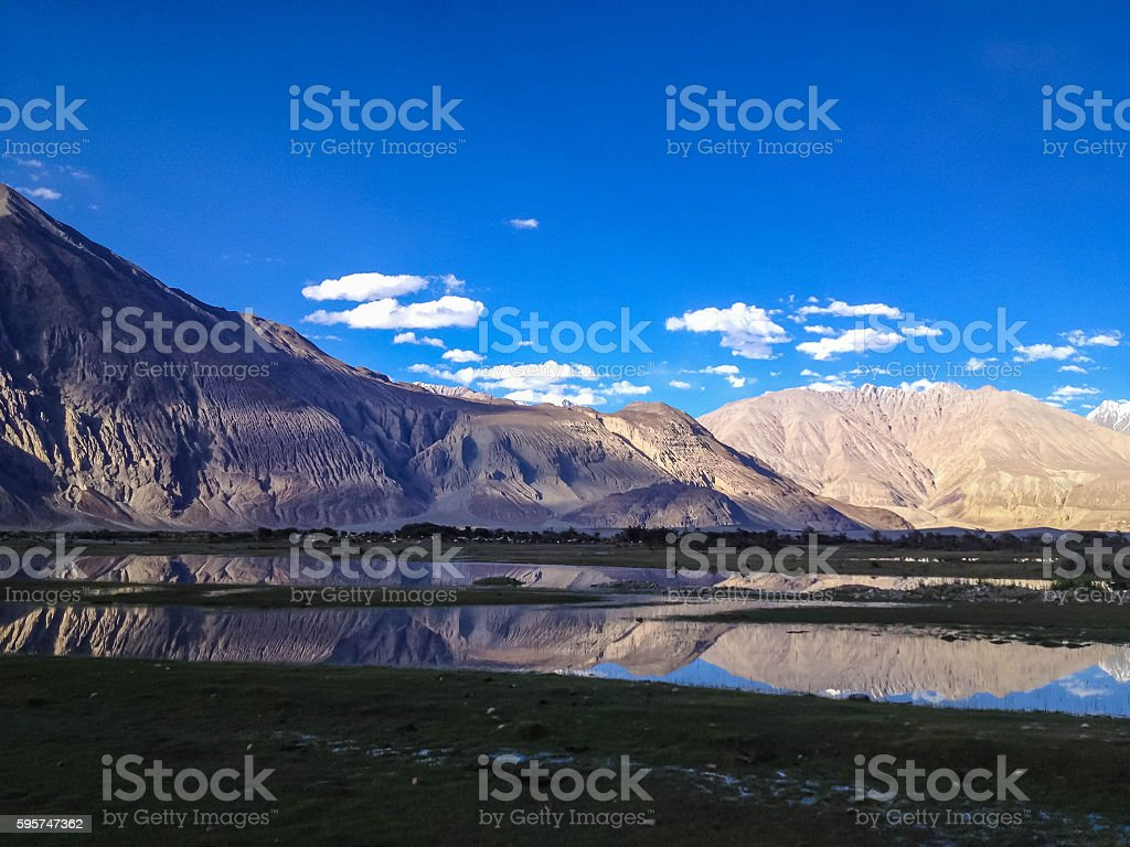 reflecting pools in Nubra Valley, Leh-Ladakh, Northern India stock photo