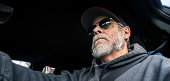 Reflecting Sunglasses Senior Adult Man Driver Unique Perspective