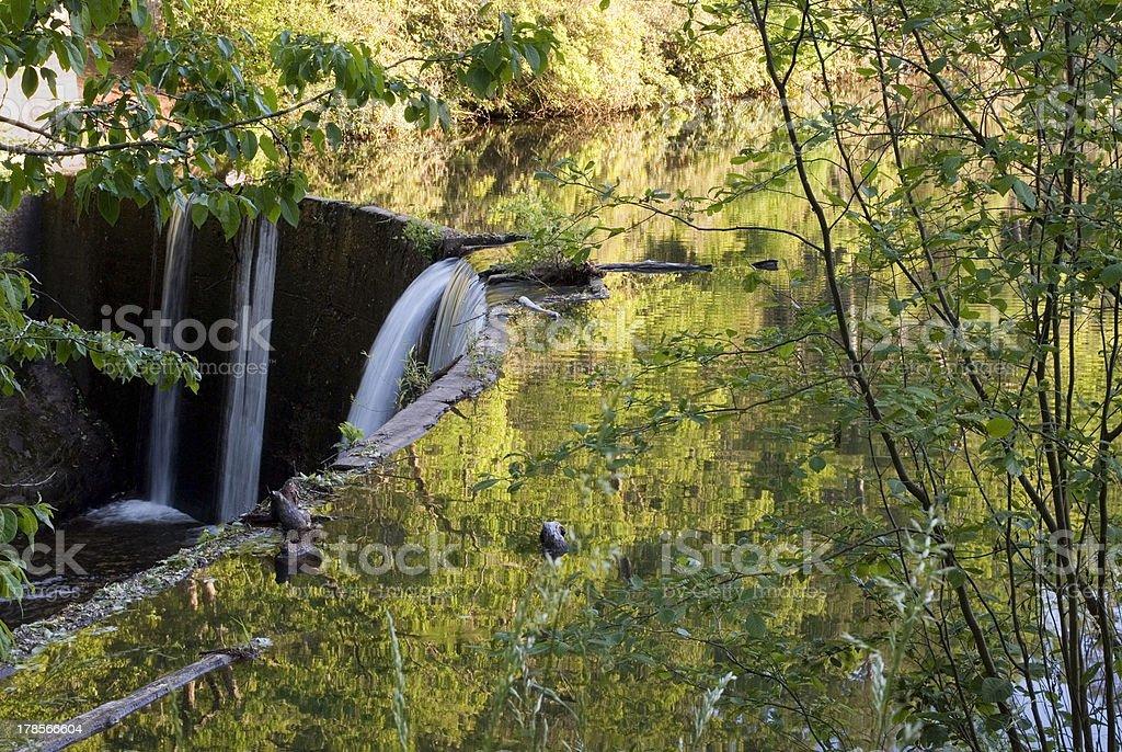 Reflection and waterfall stock photo
