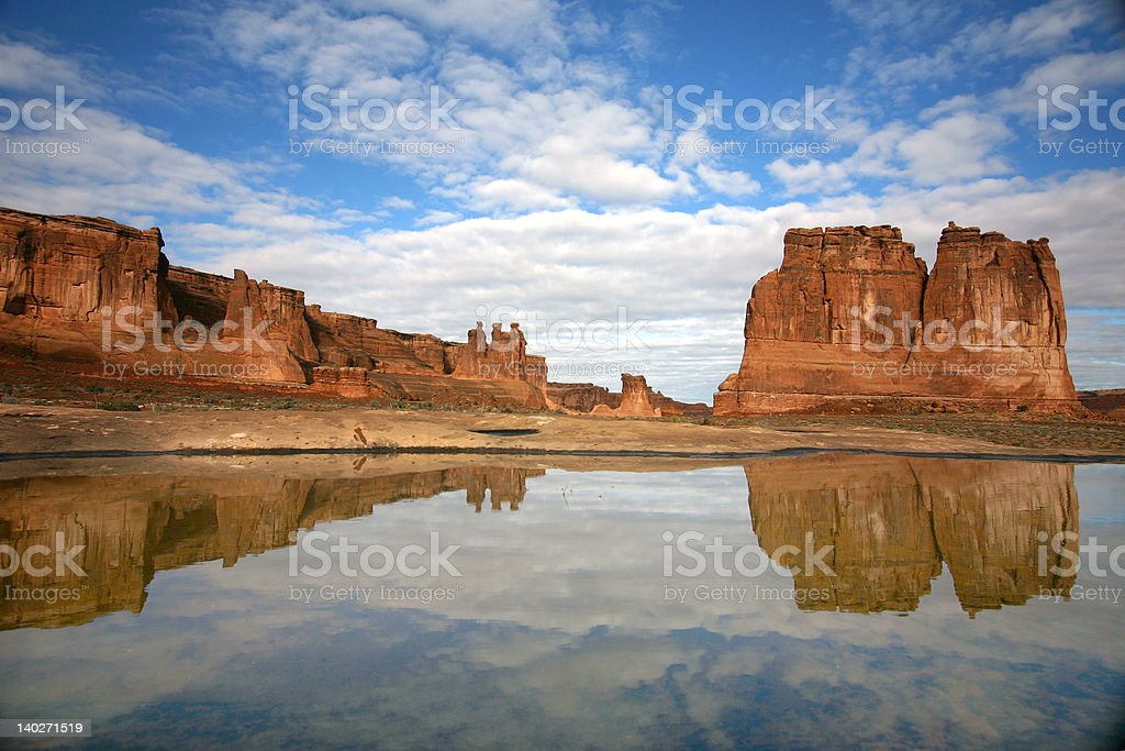 Reflection at Arches in Moab Utah stock photo