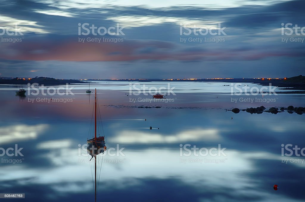 Reflection at sunset stock photo