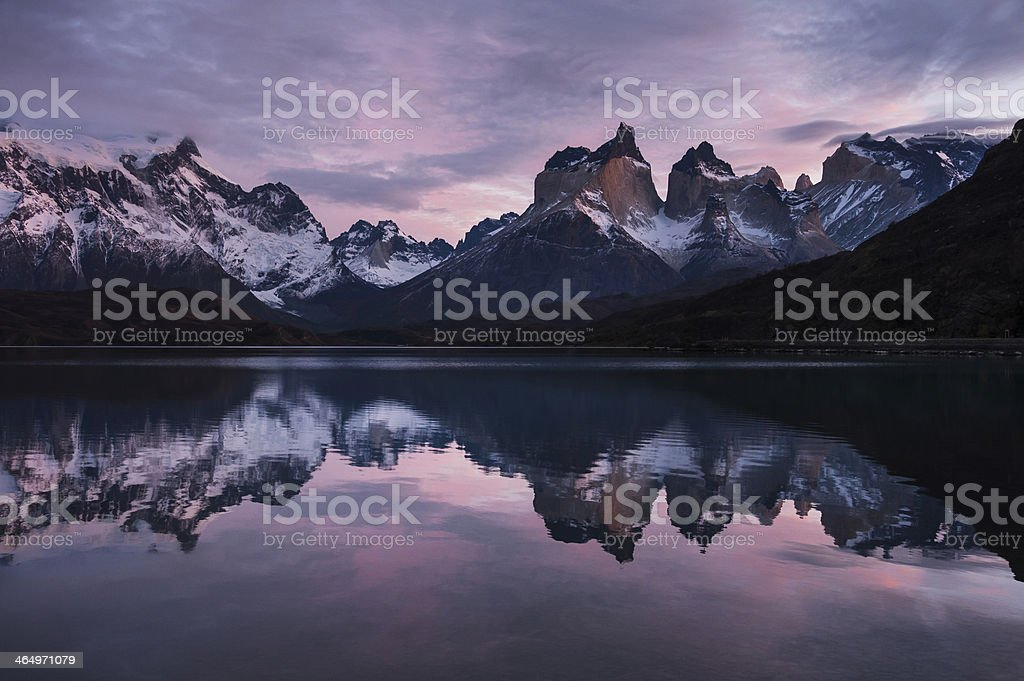 Reflection at Torres del Paine National Park stock photo