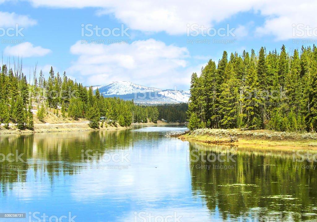 Reflection at Yellowstone Lake stock photo