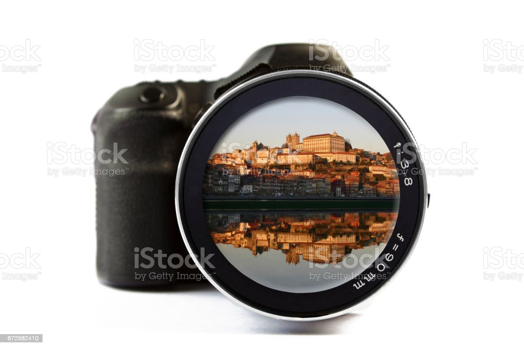 Reflection cityscape of Porto Seen Through a Lens of a Camera stock photo