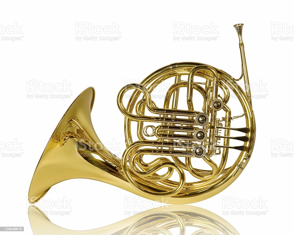 Reflection French Horn stock photo