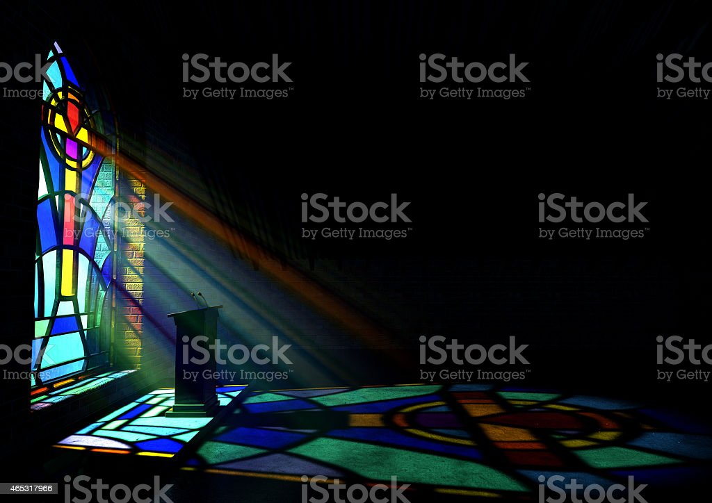 A reflection from a stained glass window of a church stock photo