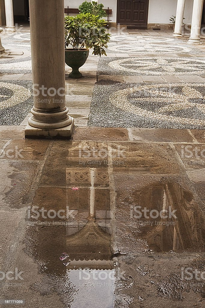Reflection in a puddle, Ubeda, Jaen province, Spain stock photo