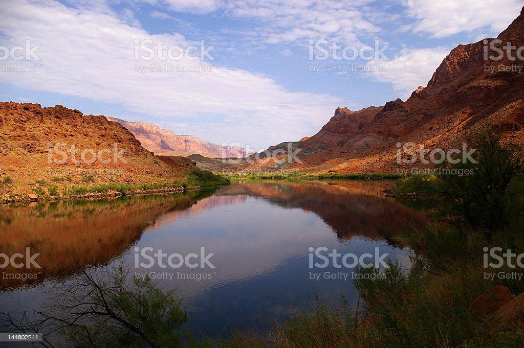 Reflection in Colorado River stock photo